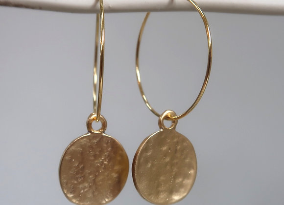 Hammered Gold Coin (Medium hoop)