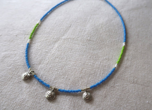 3 Silver Coins - Blue & Lime