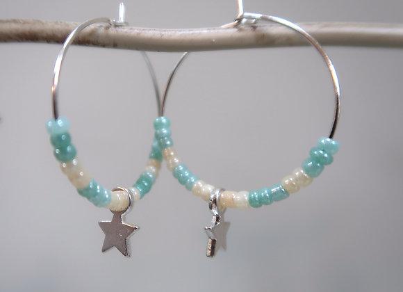 Turquoise/White Star (Medium Hoop)