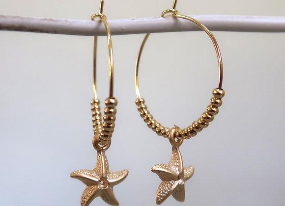 Gold Starfish (Medium hoop)