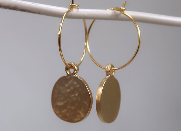 Hammered Gold Coin Hoops