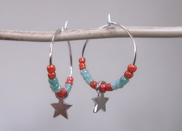 Turquoise/Orange Star (Small Hoop)