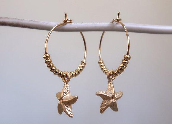 Gold Starfish (Small hoop)