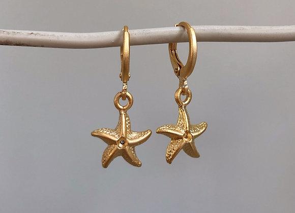 Matte Gold Starfish Huggies