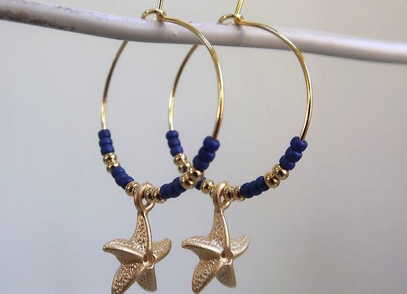 Navy Starfish (Medium hoop)