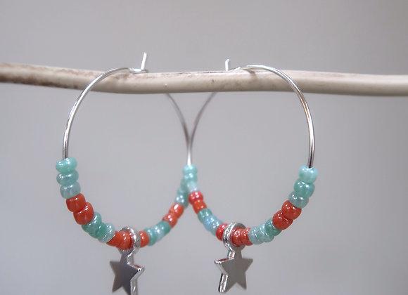 Turquoise/Orange Star (Medium Hoop)