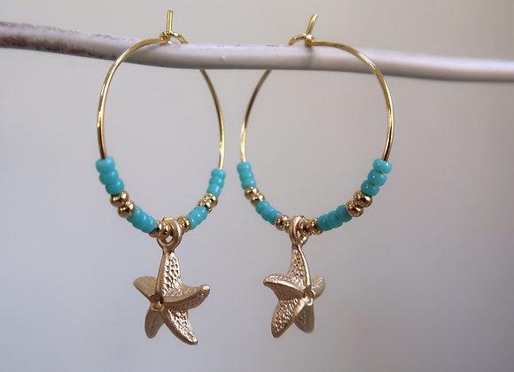 Green Turquoise Starfish (Medium hoop)