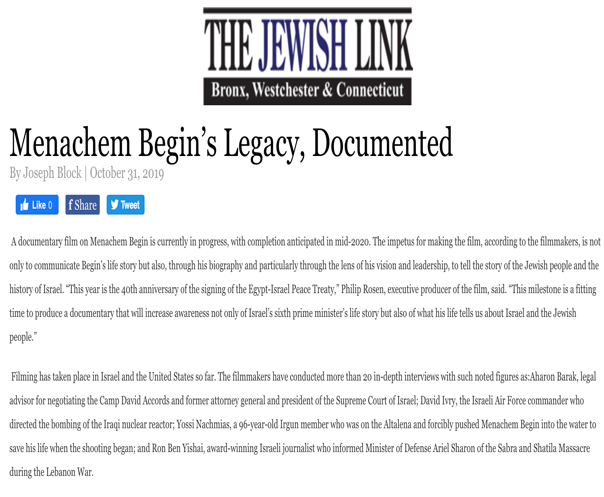 Menachem Begin's Legacy, Documented  The Jewish Link: Bronx, Westchester, Connecticut October 31, 2019