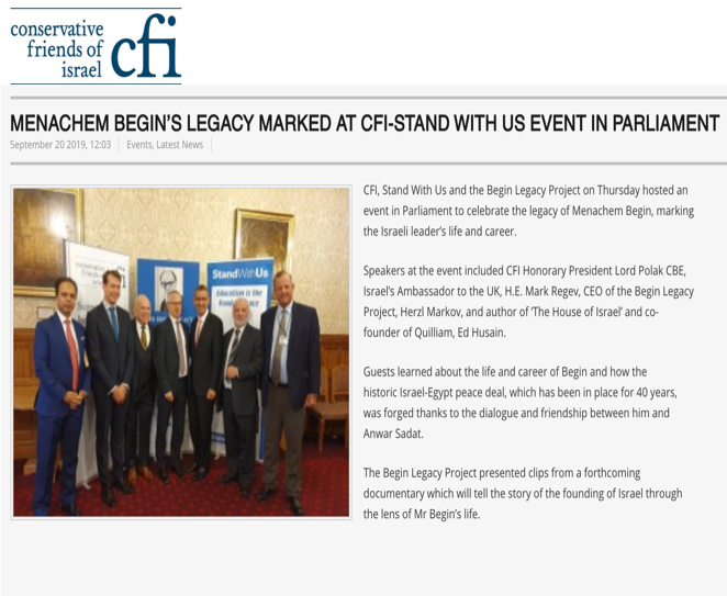 Menachem Begin's Legacy Marked at CFI-Stand with Us Event in Parliament  Conservative friends of Israel September 20, 2019