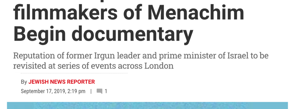 MPs and peers meet filmmakers of Menachem Begin documentary  Jewish News September 17, 2019