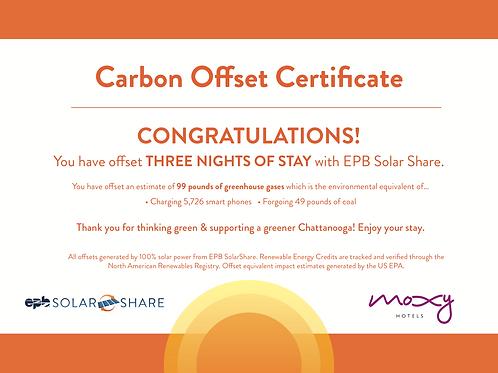 SolarShare Room Offset - 3 Nights
