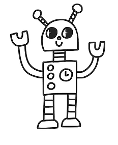 blue robot hands raised