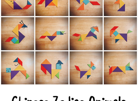 Tangram Puzzles for the Twelve Chinese Zodiac Animals