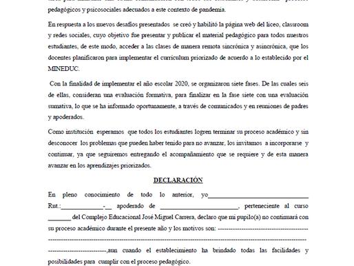 Documento Declaración de No continuidad