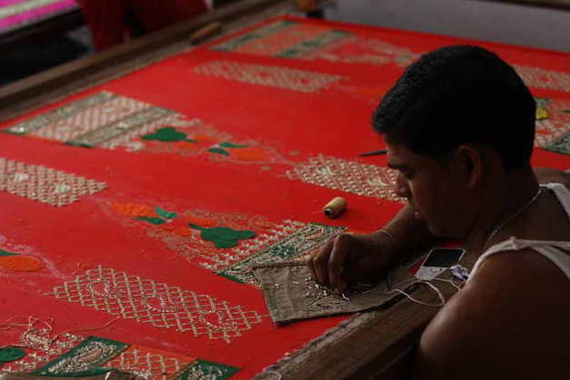 Sari making process