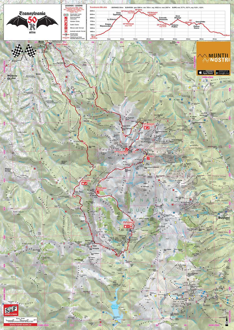 Transylvania 50k race route map and elevation profile - Bucegi Mountains