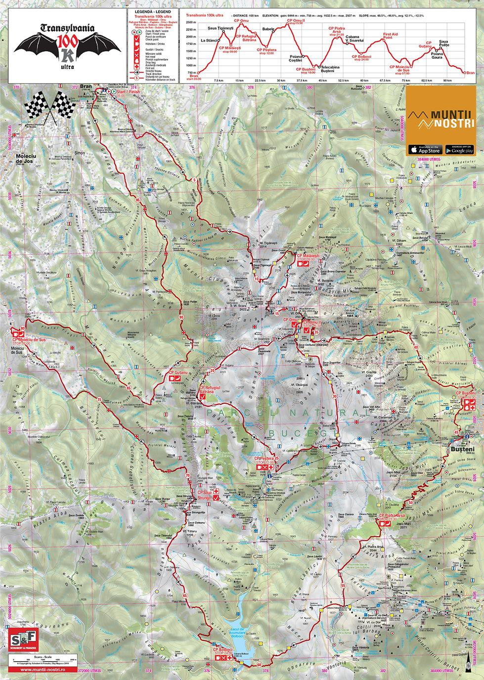 Transylvania 100k harta si profilul cursei - Muntii Bucegi