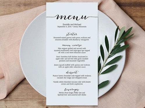 3.5 x 8.5 Dine-In Menus
