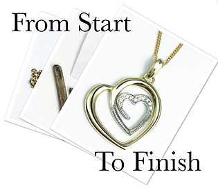 Hand made gold and diamond heart pendant. From start to finish making process.