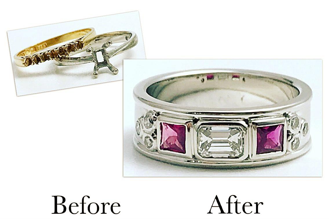 Diamonds Remounted With Rubies