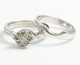 Jewellery Commission. Handmade shaped to fit wedding band with a bespoke engagement ring. Diamond ring.