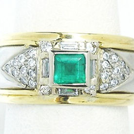 Jewellery Commission. Handmade emerald and diamond ring. Band ring. Palladium and yellow gold. One off jewellery creation.