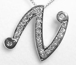Jewellery Commission. Testimonial page. Cad designed initial N pendant in white gold with diamonds. Bespoke pendant. One off.