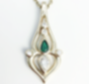 Jewellery Commission. Emerald and diamond handmade pendant. Jewellery redesign.