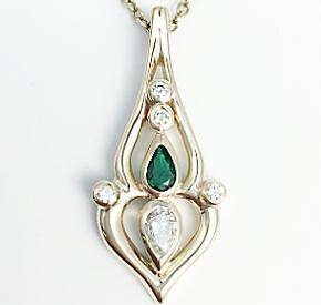 Jewellery Commission. Emerald and diamond handmade pendant. Jewellery redesign.