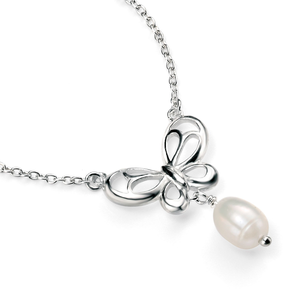 """Fesh Water Pearl Butterfly Necklace 16-18"""""""
