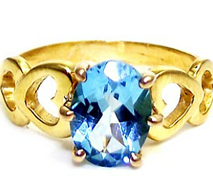 Jewellery Commission. Handmade gold ring set with an oval blue topaz. Handmade bespoke ring design.