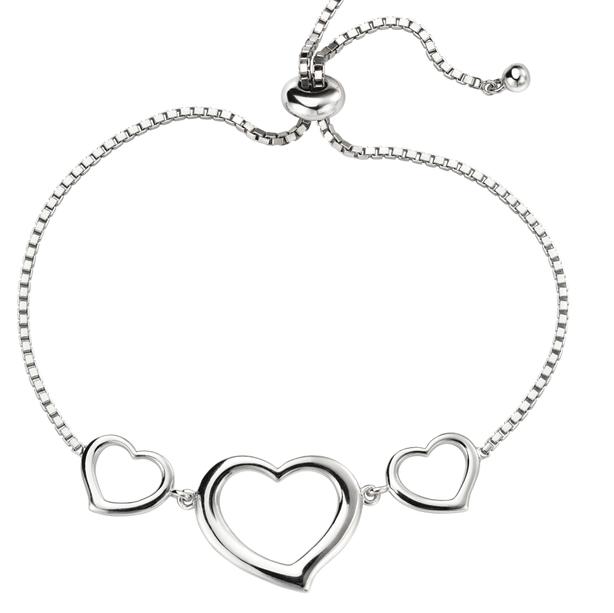 Silver Adjustable Heart Bracelet