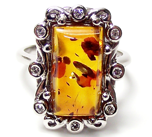 Jewellery commission. Amber and diamond cad designed bespoke ring.