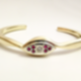 Jewellery Commission. Remodelled jewelleryinto a handmade ruby and diamond bangle. Bespoke bangle. One off.