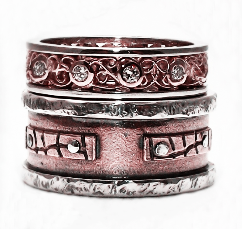 Rose gold and silver bespoke rings