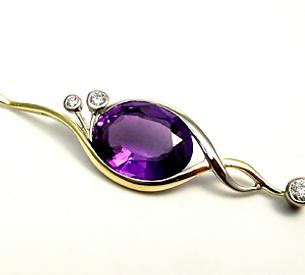 Jewellery Commission. Amethyst and diamond pendant. Handmade for you. Bespoke jewellery.