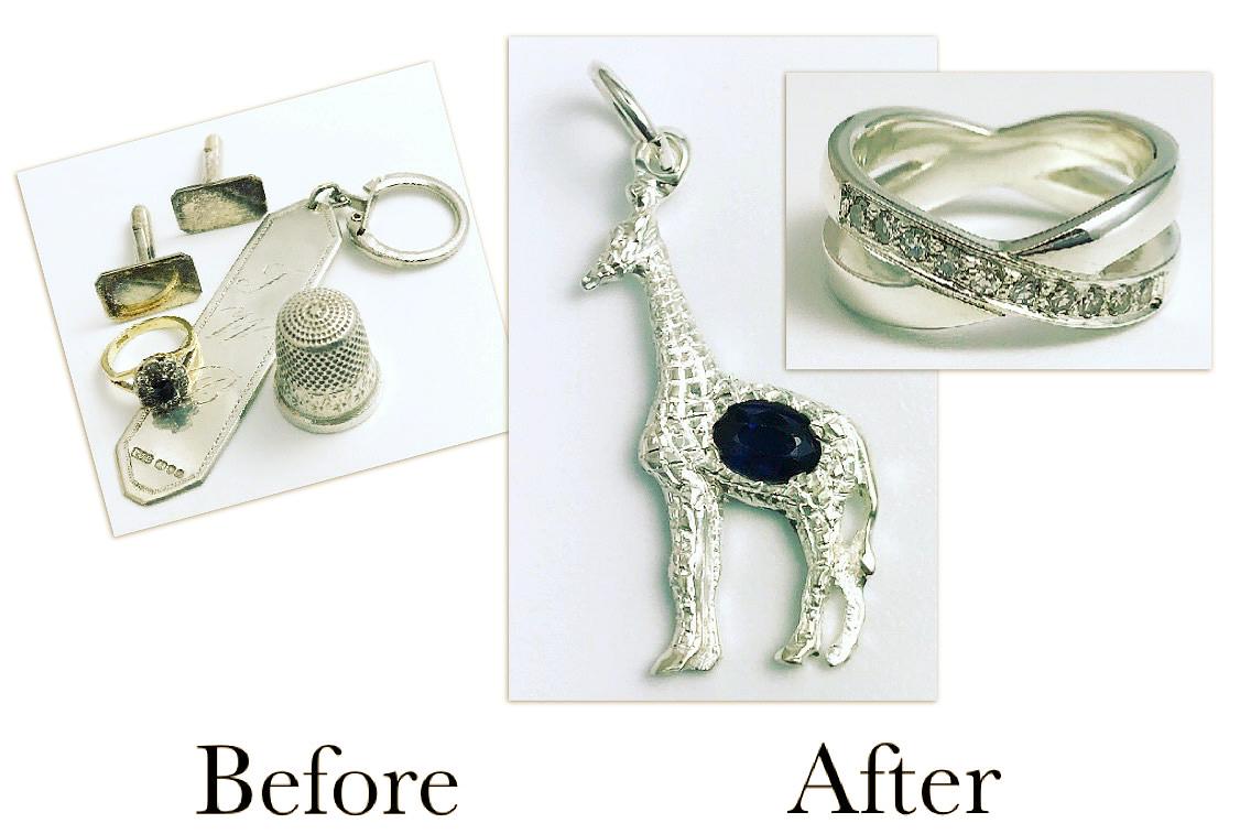 Sapphire giraffe & Diamond Ring