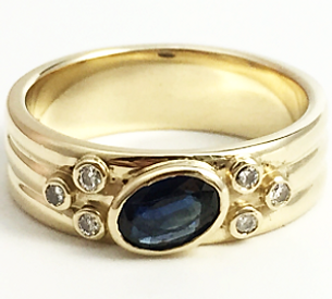 Jewellery Commission. Sapphire and diamond bespoke band ring. Cad cam. One off. Bespoke