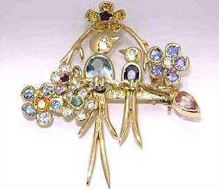 Hand made jewellery. Diamond and gemstone set brooch and pendant. Bespoke.