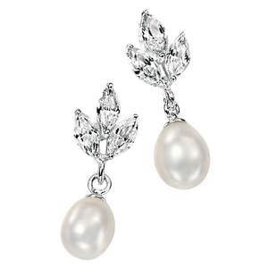Fesh Water Pearl & CZ Drop earrings