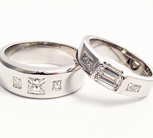 CAD designed wedding rings. 18ct white gold and diamond rngs. Bespoke one off jewellery designs.