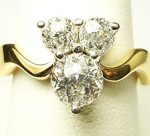 Jewellery Commission. Diamond ring. Redesigned jewellery. Handmade ring in yellow gold.