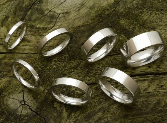 Flat court profile wedding bands. 2mm, 3mm, 4mm, 5mm, 6mm, 7mm