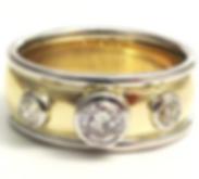 Jewellery Commission. Diamond set two gold gold bnd ring. Bespoke handmade item.
