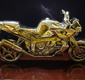 Jewellery Commission. Motor bike trophy. Cad cam designed and hand assembled and polished. Sterling silver motorbike jewellery.
