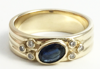 Sapphire and diamond cad band
