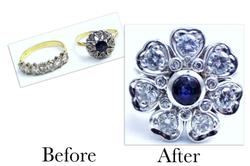 Sapphire & Diamond Heart Cluster