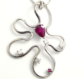 Jewellery Commission. Ruby and diamond bespoke pendant.