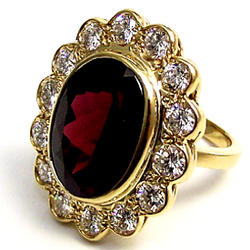 Jewellery Commission. Handmade garnet ad diamond cluster ring. One off. Jewellery redesigned.