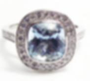 Jewellery Commission. Aqua marine and diamond halo ring. Cad cam, bepoke.